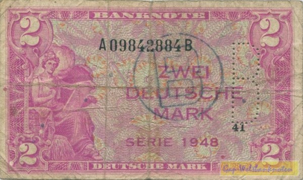 1948, B-Perforation u. B-Stpl. - (Sie sehen ein Musterbild, nicht die angebotene Banknote)