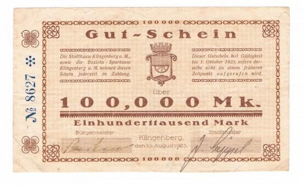 10.8.23, ohne Wz., Rs Stempel - (Sie sehen ein Musterbild, nicht die angebotene Banknote)