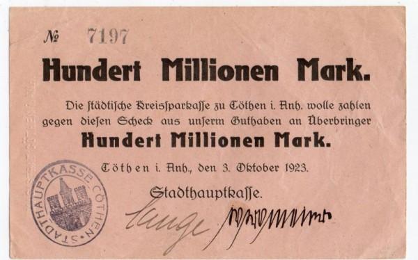 3.10.23, ohne Wz., mit FSt u. einzeiligem PSt - (Sie sehen ein Musterbild, nicht die angebotene Banknote)
