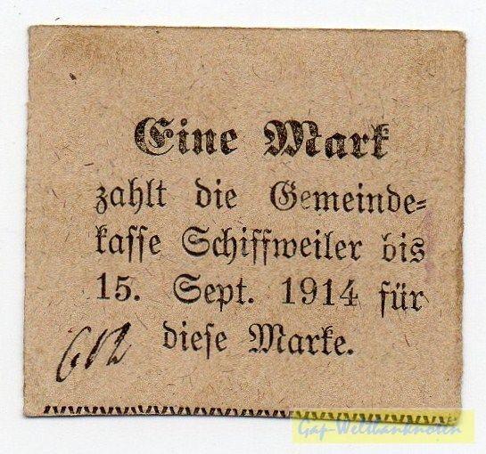 """(1914), """"zahlt"""" am Anfang - (Sie sehen ein Musterbild, nicht die angebotene Banknote)"""