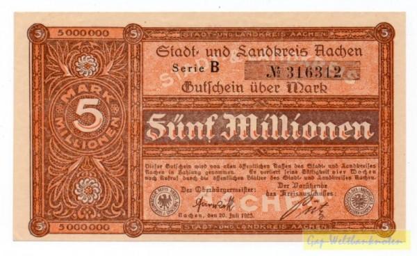 20.7.23, Serie B, № KN Type I 4,5 mm, Druck braun, Rs. Bild orange - (Sie sehen ein Musterbild, nicht die angebotene Banknote)