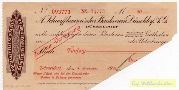 4.11.18, Dresdner Bank a. Schaaffhaus'sche, entw. - (Sie sehen ein Musterbild, nicht die angebotene Banknote)