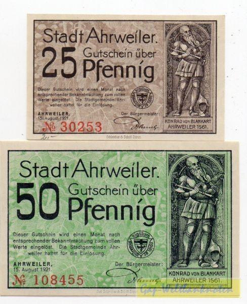 25, 50 Pf, Udr. grün - (Sie sehen ein Musterbild, nicht die angebotene Banknote)