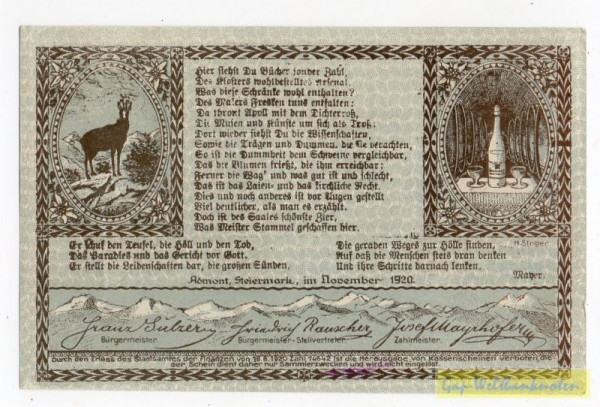 Dr. bds. grau, Bild blau - (Sie sehen ein Musterbild, nicht die angebotene Banknote)