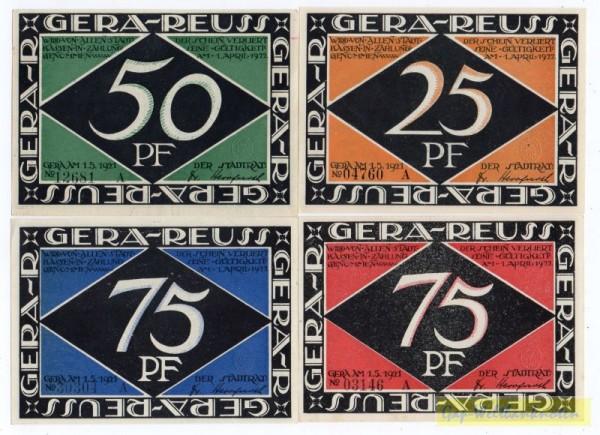 25, 50, 2x75 Pf Serie A - (Sie sehen ein Musterbild, nicht die angebotene Banknote)