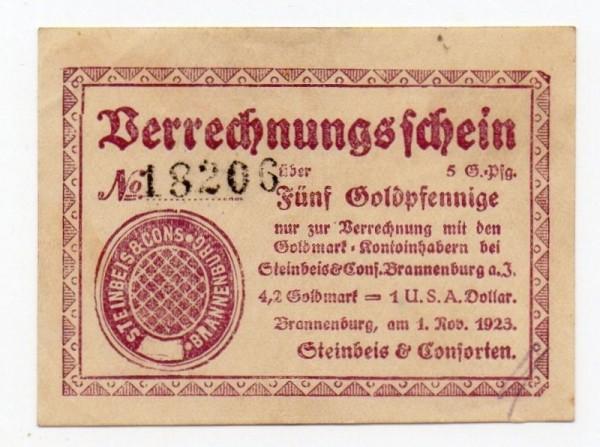 1.11.23, Pap sämisch, brauner Druck - (Sie sehen ein Musterbild, nicht die angebotene Banknote)