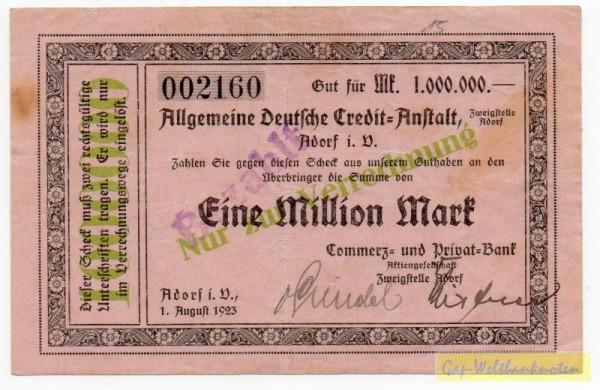 1.8.23, KN 4 mm - (Sie sehen ein Musterbild, nicht die angebotene Banknote)