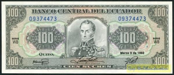 9.3.92, KN blau, WB - (Sie sehen ein Musterbild, nicht die angebotene Banknote)