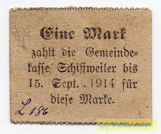 """(1914), """"zahlt"""" eingerückt, offene 4 - (Sie sehen ein Musterbild, nicht die angebotene Banknote)"""