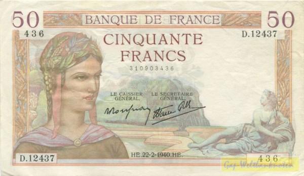 Rousseau/Favre-Gilly, 9.3.39 - (Sie sehen ein Musterbild, nicht die angebotene Banknote)