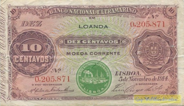 """5.11.14, """"LOANDA"""" grün - (Sie sehen ein Musterbild, nicht die angebotene Banknote)"""