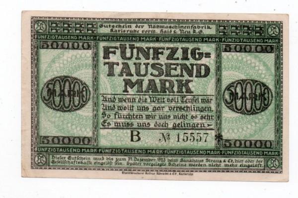 1.8.23, Druck u. Udr. bds., B № KN 6*s - (Sie sehen ein Musterbild, nicht die angebotene Banknote)