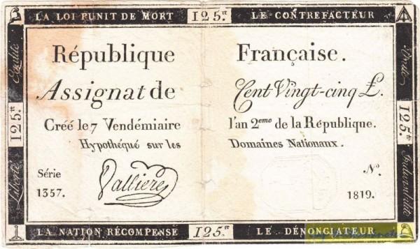 28.9.1793 - (Sie sehen ein Musterbild, nicht die angebotene Banknote)