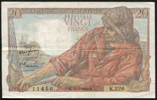 Rousseau/Gargam, 10.3.49 - (Sie sehen ein Musterbild, nicht die angebotene Banknote)