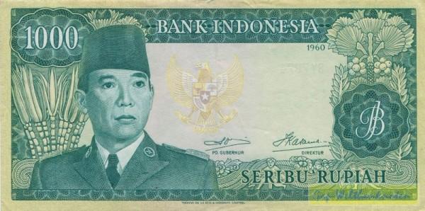 1960, Wz. Sukarno - (Sie sehen ein Musterbild, nicht die angebotene Banknote)