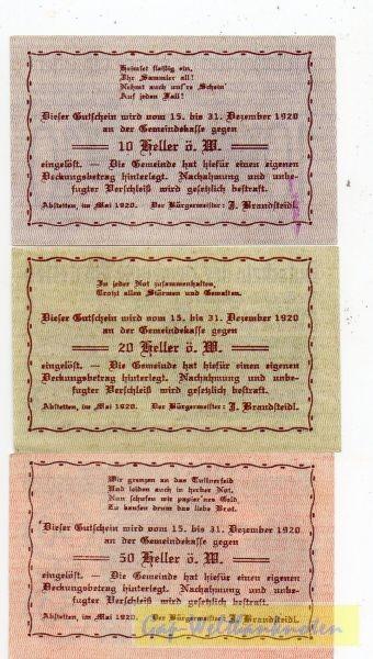 10, 20, 50h Mai 1920 - 31. 12. 1920, ohne Stempel - (Sie sehen ein Musterbild, nicht die angebotene Banknote)