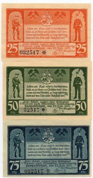 25.7.21, 25, 50, 75 Pf mit KN Zweite Bergbauserie - (Sie sehen ein Musterbild, nicht die angebotene Banknote)
