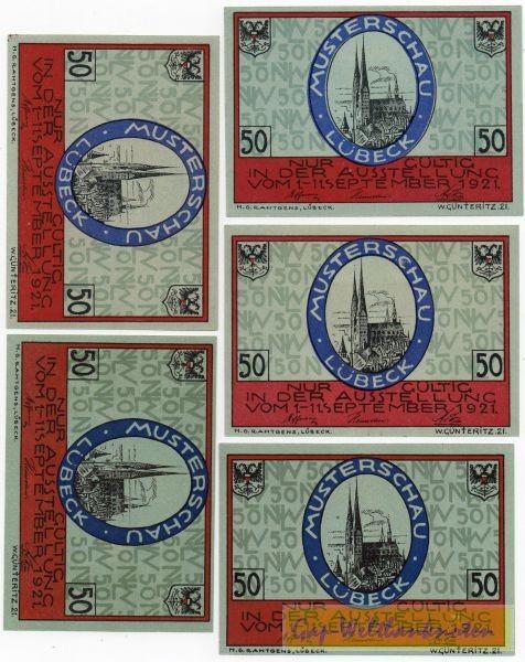 1.9.21, 5x50 Pf - (Sie sehen ein Musterbild, nicht die angebotene Banknote)