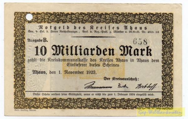 1.11.23, Ausgabe B: lochentwertet - (Sie sehen ein Musterbild, nicht die angebotene Banknote)