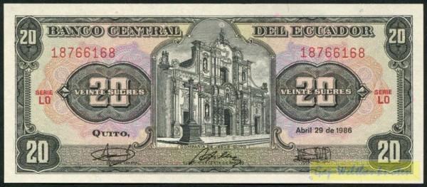29.4.86, LO - (Sie sehen ein Musterbild, nicht die angebotene Banknote)