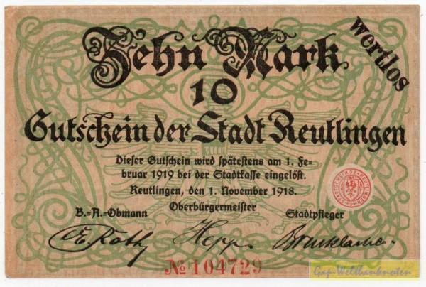"""1.11.18, St. """"wertlos"""" - (Sie sehen ein Musterbild, nicht die angebotene Banknote)"""