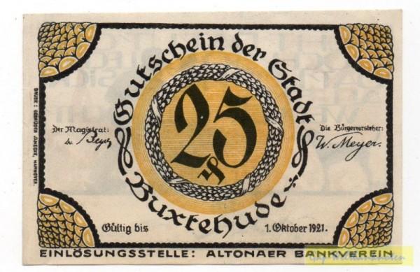 oD, Schein Buxtehude, Vermerk gedr., Vs Wert i. Kranz - (Sie sehen ein Musterbild, nicht die angebotene Banknote)