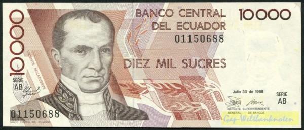 30.7.88, AB - (Sie sehen ein Musterbild, nicht die angebotene Banknote)