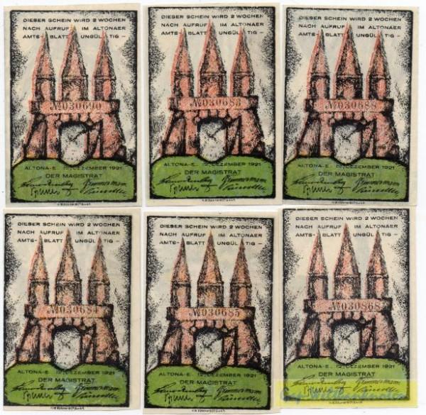 12.12.21, 20, 30, 40, 60, 70, 80 Pf, Wz Tropfen - (Sie sehen ein Musterbild, nicht die angebotene Banknote)
