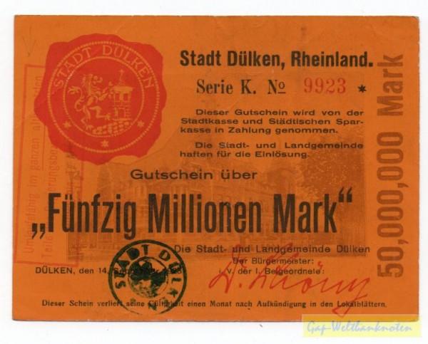 14.9.23 - 1.4.24, mit Zonen-St., Serie K - (Sie sehen ein Musterbild, nicht die angebotene Banknote)