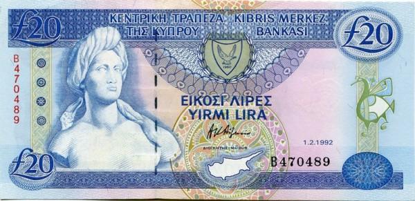 1.2.92, YIRMI LIRA - (Sie sehen ein Musterbild, nicht die angebotene Banknote)