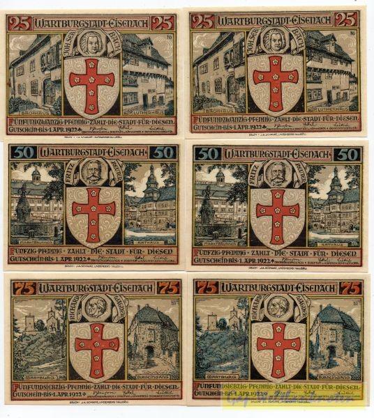 2x25, 2x50, 2x 75 Pf ohne Stpl. - (Sie sehen ein Musterbild, nicht die angebotene Banknote)