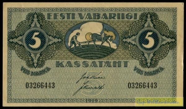1919, dünnes Papier - (Sie sehen ein Musterbild, nicht die angebotene Banknote)