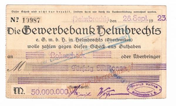 28.9.23, Postkarten-Scheck a. Gewerbebank, niK - (Sie sehen ein Musterbild, nicht die angebotene Banknote)