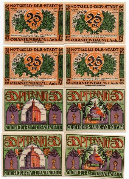 oD, 4x25, 4x50 Pf - (Sie sehen ein Musterbild, nicht die angebotene Banknote)