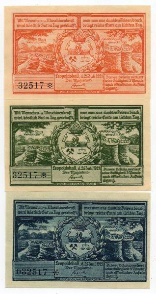 25.7.21, 25, 50, 75 Pf mit KN Vierte Bergbauserie - (Sie sehen ein Musterbild, nicht die angebotene Banknote)