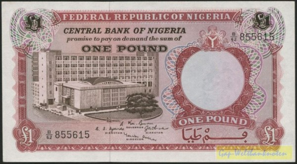 (1967) - (Sie sehen ein Musterbild, nicht die angebotene Banknote)
