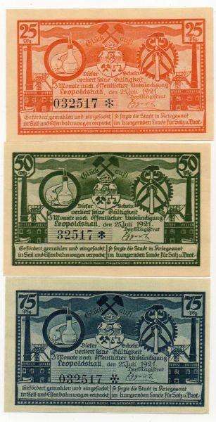 25.7.21, 25, 50, 75 Pf mit KN Dritte Bergbauserie - (Sie sehen ein Musterbild, nicht die angebotene Banknote)