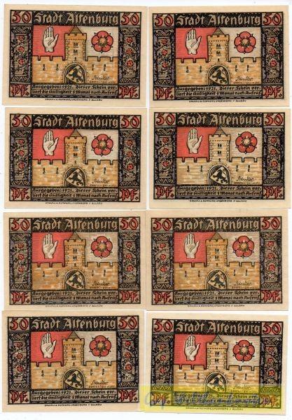 """8x50 Pf, eine Us: """"Achilles"""" - (Sie sehen ein Musterbild, nicht die angebotene Banknote)"""