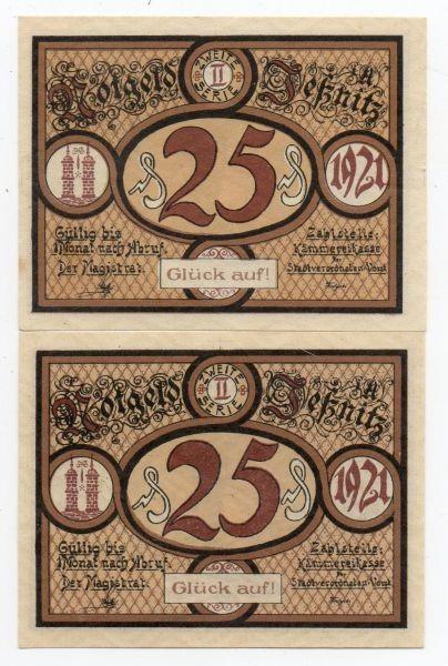 """1921, 2x25 Pf, statt KN """"Glück auf"""" - (Sie sehen ein Musterbild, nicht die angebotene Banknote)"""
