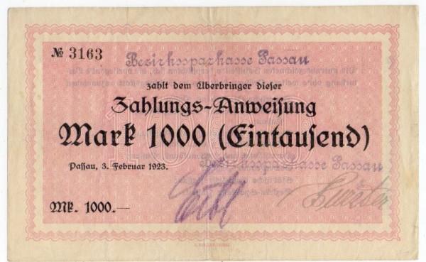 3.2.23, Bankstempel oben und unten - (Sie sehen ein Musterbild, nicht die angebotene Banknote)