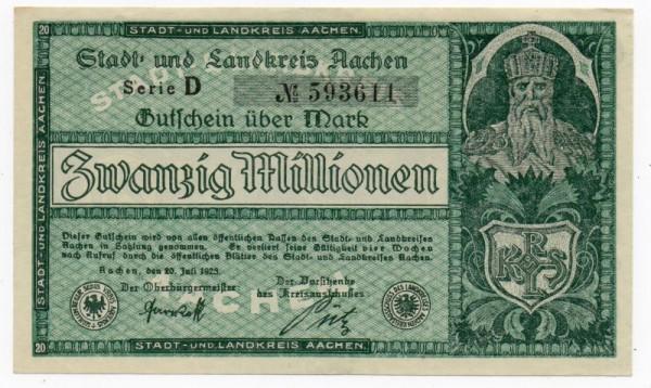207.23, Serie D, Udr. dunkelgrün - (Sie sehen ein Musterbild, nicht die angebotene Banknote)