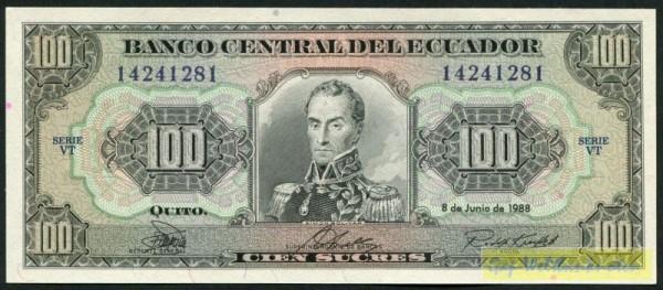 8.6.88, KN schwarz, weit, VT - (Sie sehen ein Musterbild, nicht die angebotene Banknote)