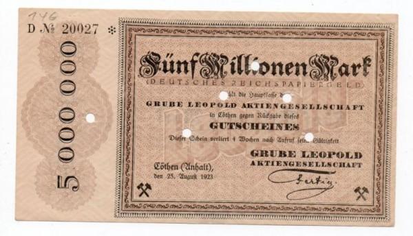 25.8.23, Serie D, № KN 6*s, gelocht - (Sie sehen ein Musterbild, nicht die angebotene Banknote)