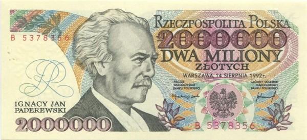 """14.8.92, B, """"KONSTYTUCYJNY"""" - (Sie sehen ein Musterbild, nicht die angebotene Banknote)"""