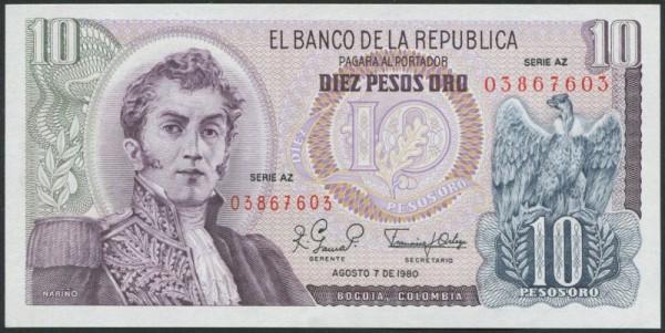 7.8.80, mit Serie AZ - (Sie sehen ein Musterbild, nicht die angebotene Banknote)