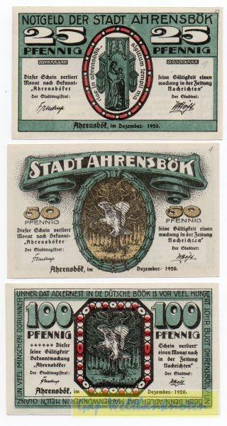 Dez. 1920, 25, 50, 100 Pf - (Sie sehen ein Musterbild, nicht die angebotene Banknote)