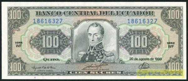 20.8.93, KN blau, WF - (Sie sehen ein Musterbild, nicht die angebotene Banknote)