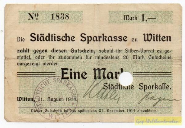 """11.8.14, """"Mark"""", Papier mit Leinenpressung, entw. - (Sie sehen ein Musterbild, nicht die angebotene Banknote)"""