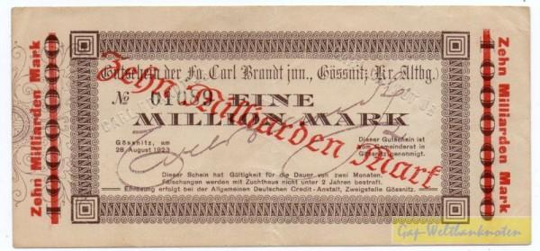 oD, Üdr. auf 1 Mrd. v. 28.8.23 - (Sie sehen ein Musterbild, nicht die angebotene Banknote)