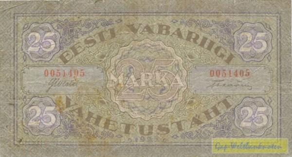 1922, horiz. Wellen - (Sie sehen ein Musterbild, nicht die angebotene Banknote)